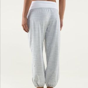 Gray and White Cropped Om Pants